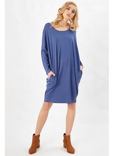 Peraluna Peraluna Indigo Renk 3/4 Kol Balon Kadın Triko Elbise İndigo